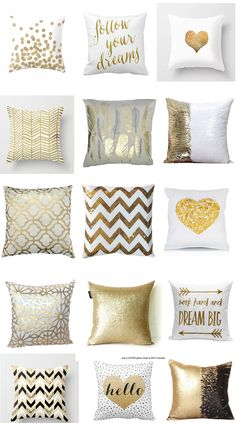 30 Fabulous Gold Pillows for Every Budget! : Looking for Fabulous gold pillows to add a touch of glamor to your home? I have rounded up 30 pillows and pillow covers that fit EVERY budget! Gold Throw Pillows, Cute Pillows, Diy Pillows, Pink Bedroom Decor, Gold Bedroom, Pillow Room, Bolster Pillow, Pillow Talk, Cute Bedroom Ideas