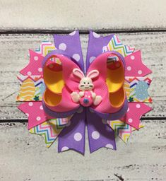 Easter Hair Bows Easter Bunny Hair Bow  Easter Boutique Hair