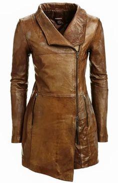 Adorable brown danier long leather jacket