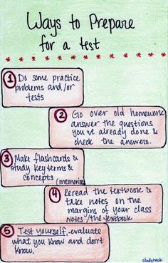 If you have a test coming up and you don't know where to start, here are some things you can do to prepare!