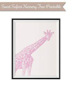 FREE giraffe printable for girl's safari nursery via www.thekiwiintheclouds.com