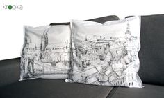 Set of pillowcases Two pillowcovers handpainted by KropkaDesign