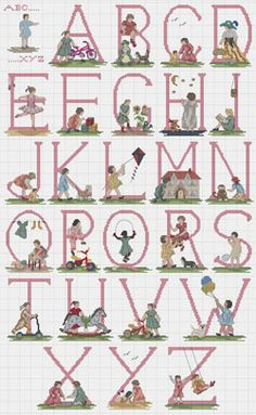 Girls & Toys Cross stitch Alphabet Chart