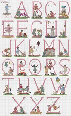 Girls & Toys Cross stitch Alphabet Chart