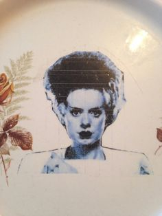 Bride of Frankenstein , repurposed vintage plate by fromthelittlefoxden on Etsy Bride Of Frankenstein, Vintage Plates, Den, Repurposed, Trending Outfits, Halloween, Unique Jewelry, Handmade Gifts, Etsy