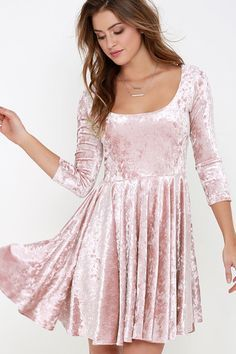 I Love You Amore Blush Pink Velvet Skater Dress at Lulus.com!