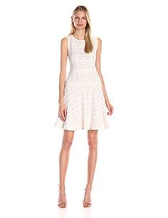 Vince Camuto Women's S/L Horizontal Lace Flare Dress, New Ivory, Small - http://best-women-shop.xyz/2016/05/21/vince-camuto-womens-sl-horizontal-lace-flare-dress-new-ivory-small/
