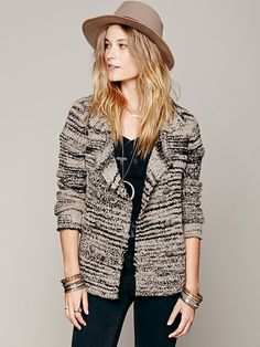 Free People Zebra Sweater Jacket, $148.00
