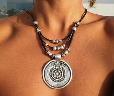Leather necklace with bohemian silver pendant, tribal boho jewelry. An everyday fashion jewelry !! necklaces for women, silver jewelry, personalized leather jewelry, original designs by kekugi. This necklace is made of genuine leather and silver plated beads. All silver pieces are subjected to