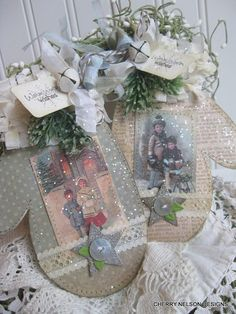 shabby chic VICTORIAN CHRISTMAS children warm winter wishes stitched glittered LARGE tags or ornaments decoration gift