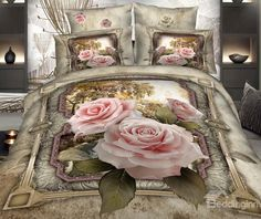 Luxurious Pink Roses and Floral Borders Print 4 Piece Bedding Sets #flower #bedding @bedding inn
