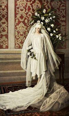 Antique Wedding Dresses, Vintage Wedding Photos, 1920s Wedding, Wedding Dress Trends, Best Wedding Dresses, Vintage Bridal, Wedding Attire, Wedding Bride, Wedding Styles