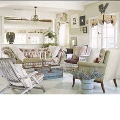 Shabby chic - the floor, the couch and open rafters