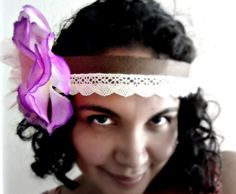 Boho Chic Headband Woodland Beauty Purple Flower with by EcoYagual, $25.00