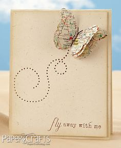 love idea of map paper for butterfly