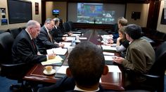 The President receives an update on the response to Hurricane Sandy in the Situation Room of the White House on Oct. 29 2012.