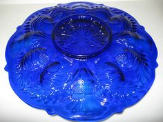Cobalt Blue Glass Deviled Egg Thistle Serving Plate Platter Tray Hard Boiled Art | eBay