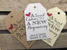 Wedding Gift Tags - A Sweet Ending To A New Beginning - Wedding Favor Tags - Customizable Personalized (WT1670) by FiendishPaperThingy on Etsy https://www.etsy.com/listing/266462352/wedding-gift-tags-a-sweet-ending-to-a