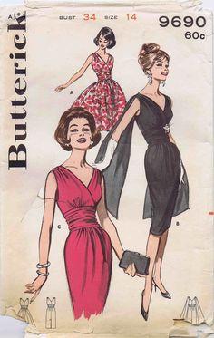 Butterick 9690 - 1960s Draped Surplice Cocktail Evening Dress