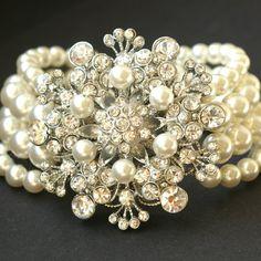Victorian Style Bridal Pearl Cuff Bracelet, Vintage Wedding Jewelry Bracelet, Rhinestone Flower Bracelet, BOUQUET
