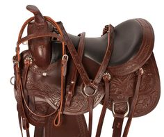 Premium Brown Handtooled Leather Trail Horse Saddle 15 17 Only $524.99!