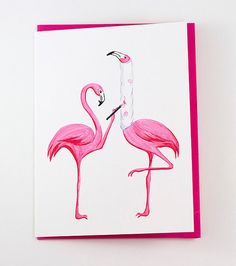 Get well card Pink flamingo card by AmelieLegault on Etsy