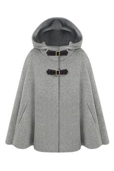 Single Breast Grey Hoody Cape - Fashion Clothing, Latest Street Fashion At Abaday.com