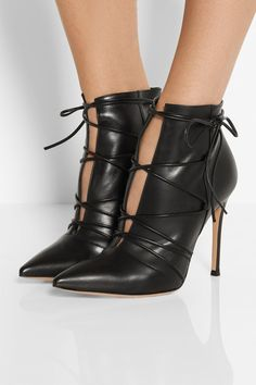 These are incredible!  Gianvito Rossi | Lace-up leather ankle boots | NET-A-PORTER.COM