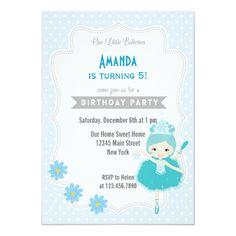 Shop Ballerina Birthday Invitation Blue created by melanileestyle. Ballerina Birthday Parties, Ballerina Party, Little Ballerina, Blue Birthday, Diy Birthday Invitations, Funny Birthday Cards, Pink Dessert Tables, Blue Color Combinations, Ice Princess