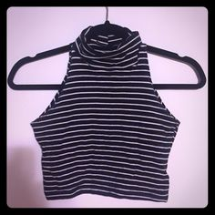 American Apparel turtleneck crop tank Stripped cotton spandex crop tank American Apparel Tops Crop Tops