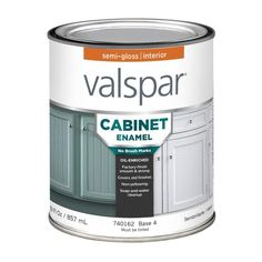 Valspar Cabinet Enamel Base 1 Semi-Gloss Enamel Tintable Interior Paint (Actual Net Contents: oz) at Lowe's. Valspar Cabinet and Furniture Oil-Enriched Enamel provides a strong, factory-like finish that resists fading, scratches and scuffs. Kitchen Paint, Kitchen Redo, Kitchen And Bath, Kitchen Design, Kitchen Ideas, Kitchen Remodel, Kitchen Styling, Do It Yourself Furniture, Do It Yourself Home