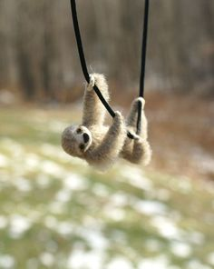 Tiny Sloth Necklace / sculpture - needle felted