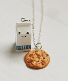 Milk and Chocolate Chip Cookie Necklace Miniature Food Necklace - Miniature Food Jewelry. $10.00, via Etsy.