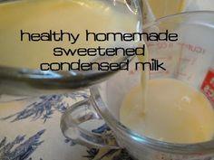 Homemade Sweetened Condensed Milk, no powdered milk, no weird ingredients :: via Kitchen Stewardship