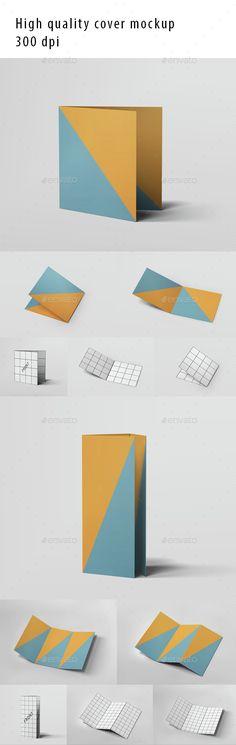 Realistic 3 Fold Brochure and DL Envelope Mockup Mockup - gate fold brochure mockup