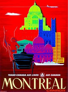 Montreal Canada Canadian Vintage Travel Advertisement Poster