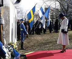 Royal Family Around the World: Crown Princess Victoria of Sweden and Prince Carl Philip of Sweden attends a memorial service for the Swedish Volunteer Corps at Finland Park, Stockholm on March 13, 2017