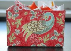 Fabric covered box - no sew :)  This is made with a chipboard box, but could probably work with cardboard.