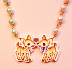 Cute Deer Necklace, Kawaii Pastel Love Pink and Blue