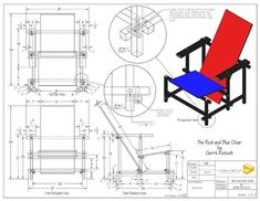 The Red and Blue Chair, one of history's early inspirations of furniture and architecture. Designed by Gerrit Rietveld in It represents one of the first explorations by the De Stijl art movement in three dimensions, and is available here in standard… Woodworking Projects For Kids, Woodworking Hand Tools, Woodworking Logo, Woodworking Workshop, Woodworking Furniture, Art Furniture, Furniture Design, Woodworking Classes, Woodworking Workbench