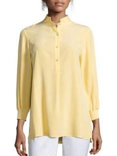 Lafayette 148 New York - Declan Silk Three-Quarter Sleeve Blouse