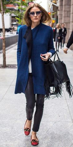 Love everything about this look- especially the navy and black combo