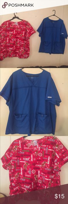 Scrub bundle 3X Both have a set of pockets in front. They have loose fit back NO Ties Other