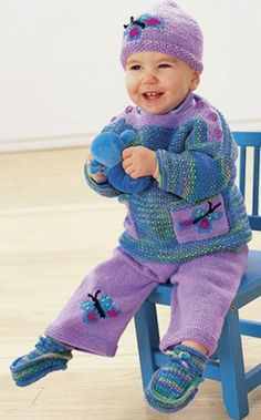 "Free Knitting Pattern Butterfly Pullover, Pants, Hat, and Booties for Baby and Toddler - This ""Butterflies Are Free Set"" by Yarnspirations includes pullover, pants, and hat with butterfly motifs and matching booties. Sizes for 6 months to 2 years."
