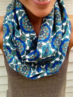 Fall Infinity Scarf in Blue, Emerald and White, #boho, #scarf, #infinity, #loop, #emerald