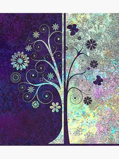 """""""Pretty Colorful Floral Trees and Butterflies Artwork"""" Photographic Print by xpressio   Redbubble"""