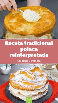 Receta tradicional polaca reinterpretada. Crujiente y cremosa. Pastel polaco de pasta choux y pudding de vainilla. Una reinterpretación de la tarta polaca karpatka. Masa crujiente combinada con crema de pudding. #karpatka #tartapolaca #pastelpolaco #pastachoux #puddingdevainilla #cremadepudding #tartaconpastachoux #tartadepudding Food Cakes, Bolo Musical, Sweet Recipes, Cake Recipes, Pasta Choux, Churros, Portuguese Desserts, Torte Cake, Profiteroles