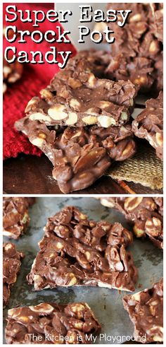 SUPER Easy Crock Pot Candy ~ Grab that crock pot & whip up a batch of this SUPER easy Crock Pot Candy! This version of the classic slow cooker treat uses 3 kinds of chocolate & 3 kinds of nuts to cook up one delicious chocolate treat. #crockpotcandy #slowcookercandy #chocolatenutclusters www.thekitchenismyplayground.com