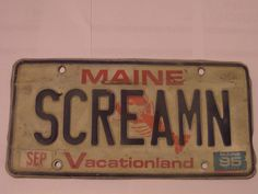 SCREAMN MAINE LICENSE PLATE FREE SHIPPING