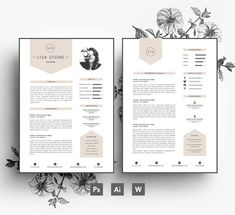 Modern template/ Business card + CV template + Cover letter/editable PSD+Word  file/Fonts included /Instant Digital Download/Creative Resume